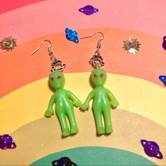 Aliens and Planet Saturn Space Earrings
